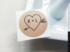 2.5 Heart  Arrow Mason Jar Labels Round Kraft Stickers Wedding Mason Jar Favors Wedding Gifts Custom Wedding Labels Favors. $80.00, via Etsy.