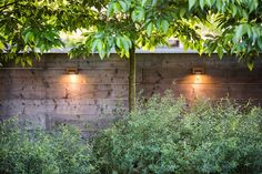 Outdoor wall lights are specifically designed and approved for wet location use; these from Royal Botania. Thoroughly informative post: Hardscaping Outdoor Wall Lights by Janet Hall. via Gardenista Fence Lighting, Outdoor Wall Lighting, Landscape Lighting, Outdoor Walls, Lighting Ideas, Backyard Lighting, Ceiling Lighting, Backyard Fences, Backyard Landscaping