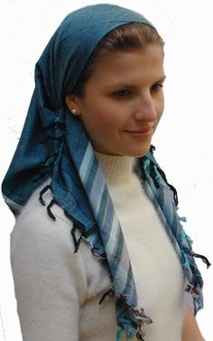 Tallit Scarf - $19.95 - this is not the same as the headscarf that covers a woman's hair completely (as you can see).