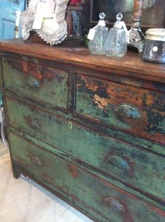 island Wow great distressed look! Going to try and emulate this with Newtons Chalk Finish Paints. Chalk Paint Furniture, Hand Painted Furniture, Distressed Furniture, Funky Furniture, Recycled Furniture, Furniture Projects, Rustic Furniture, Furniture Makeover, Vintage Furniture