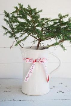 Milk white pitcher with holiday ribbon and Christmas pine branch. Simple DIY decor
