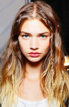 Add in a few barely-there, subtle #braids into your wavy hair for an off-duty model look. // #Hair #Beauty