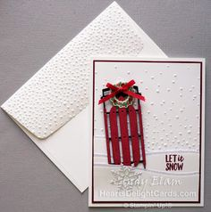 A silver Christmas decoration - HomeCNB Christmas Sled, Christmas Cards 2018, Stampin Up Christmas, Xmas Cards, Handmade Christmas, Holiday Cards, Christmas Crafts, Cool Cards, Diy Cards
