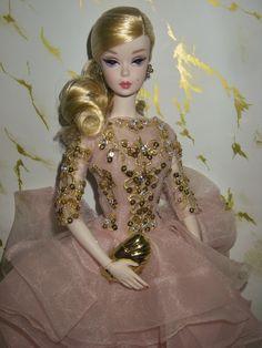 Barbie Clothes, Barbie Dolls, Gold Cocktail Dress, Barbie Patterns, Blush And Gold, Doll Dresses, Barbie And Ken, Diy Doll, Vintage Barbie