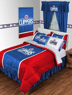 Los Angeles Clippers NBA Sidelines Room Comforter and Sheet Set Size Queen…