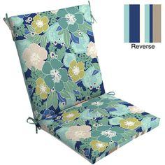 Mainstays Outdoor Chair Cushion, Blue Floral: Patio & Outdoor Decor : Walmart.com; $25