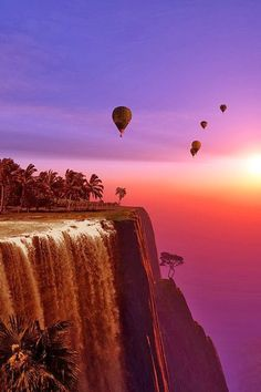 Hot-air ballon at sunset. Bucket list this shit Pretty Pictures, Cool Photos, Beautiful World, Beautiful Places, Beautiful Sunset, Amazing Places, Ligne D Horizon, Ciel, Belle Photo