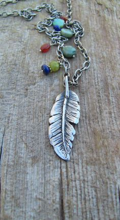Sterling Silver Feather Necklace, Feather Necklace, Feather and Stone Necklace, Silver Feather Necklace, Artisan Feather Necklace Stone Necklace, Pendant Necklace, Leaf Jewelry, Bohemian Necklace, Feather Necklaces, Peridot, My Etsy Shop, Sterling Silver, Silver