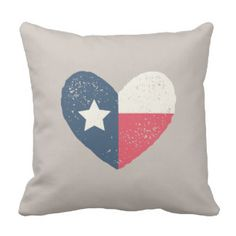 Texas Heart Flag Pillow - Cream and Red