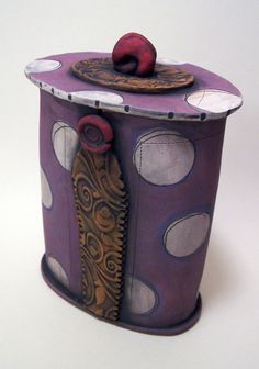 Purple Dotted Canister by PolkaDotClayStudio on Etsy, $95.00