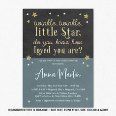 Twinkle Twinkle Little Star Baby Shower, Editable PDF, Chalkboard Baby Shower Invitation, Baby Shower Invite Printable, Invitation Template Baby Shower Garland, Chalkboard Baby, Star Baby Showers, Invite Friends, Twinkle Twinkle Little Star, Love Is Free, Just The Way, Box Design, Baby Shower Invitations