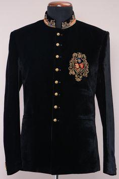 68aa8c35c1 Buy Black Velvet Zardosi work Jodhpuri Suits Online Party Wear Dress For  Man, Party Wear