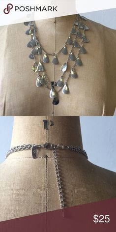 Long silver necklace Adjustable length, tear drop shaped pendants hanging from necklace. Three strands. Jewelry Necklaces