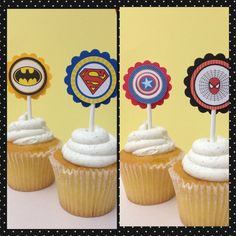 Superhero cupcake toppers 12 toppers by karlaspartycreations, $7.75