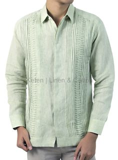 Mens Long-Sleeved 100% linen shirt. Tradicional guayabera features hidden buttoned, basic collar, tucks on the front. Elegant and exclusive for men.