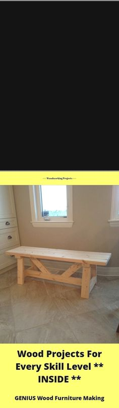 Fast and easy wood projects and wooden bench diy.com. Tip 7237 Furniture Making, Wood Furniture, Easy Wood Projects, Built In Bench, Desk, Building, Home Decor, Timber Furniture, Desktop