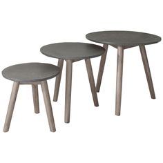 Rainer 3 Piece Nest of Tables Norden Home Colour: Grey/Brown Round Tray, Round Side Table, Homestead Living, Hazelwood Home, Nesting Tables, House Colors, Brown And Grey, 3 Piece, Modern Design