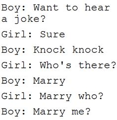 marry me? Cutest knock knock joke ever
