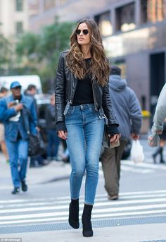 Heaven on earth! Izabel Goulart rocked jeans and a leather jacket as she headed to fittings for the upcoming Victoria's Secret Fashion Show in New York City on