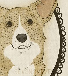 Dog art Customizable Corgi Portrait 5x7 digital by SevenOlives