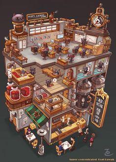 Drawing Kopi Luwak Coffee Production - by Bangzheng Du, digital, 2018 : Art Fantasy House, Fantasy Art, Art Isométrique, Doodle Art, Game Art, Images Kawaii, 8bit Art, Isometric Art, Japon Illustration