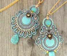 Turquoise boho pendant beaded turquoise necklace soutache by pUkke Soutache Pendant, Soutache Necklace, Boho Necklace, Boho Earrings, Fabric Jewelry, Boho Jewelry, Beaded Jewelry, Jewellery Box, Turquoise Pendant
