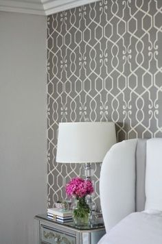 """Wallpaper also makes a great statement when it is used on just one wall, creating a beautiful backdrop for a """"picture perfect"""" room. Wallpaper pictured is available through Endless Ideas Interiors #EndlessIdeas"""