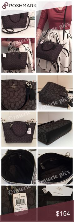 """🎀LOWEST🎀 Coach signature small kelsey Satchel 100% authentic. Signature logo black/smoke colored jacquard fabric with black leather trim. Silver tone hardware. Zip top closure and fabric lining. Inside zip and slip pockets. Handles drop 5"""". Longer detachable strap with 22"""" drop. Measures 13.5""""top/10""""bottom x 8"""" (H) x 3"""" (W). Brand new with tags. Comes from a pet and smoke free home. Coach Bags Crossbody Bags"""