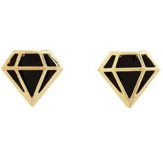 Enamel Diamond Stud Earrings (105 THB) ❤ liked on Polyvore featuring jewelry, earrings, accessories, gold, enamel earrings, diamond jewellery, metallic jewelry, diamond earrings and charlotte russe