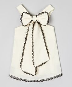 Little Miss Fashion Ivory & Black Scalloped-Lace Top - Infant, Toddler & Girls | zulily