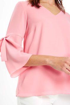 Pink Tie Flute Sleeve Blouse - Tops - Clothing - Wallis Europe