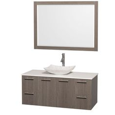 Wyndham Collection Amare 48 in. Vanity in Gray Oak with Solid-Surface Vanity Top in White, Marble Sink and 46 in. Mirror