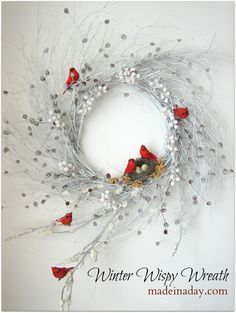 DIY Wispy Winter Wreath W/ Red Cardinals - Gorgeous especially against a white backdrop. Description from pinterest.com. I searched for this on bing.com/images