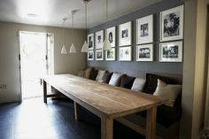 banquette, dining room, grey, black, white, wood table, rustic, modern, bench