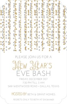 Holiday Silver and Gold Dot Streamers Invitation Beth Grant, Holiday Party Invitations, Throw A Party, Gold Dots, Address Labels, New Years Eve, Streamers, Holiday Parties, Party Planning