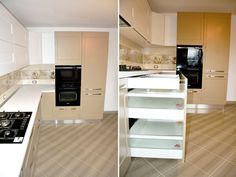 Stacked Washer Dryer, Washer And Dryer, Kitchen Cabinets, Kitchen Appliances, Wall Oven, Home Decor, Granite Counters, Diy Kitchen Appliances, Home Appliances