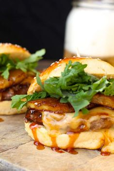 Grilled Teriyaki Burgers with grilled pineapple