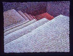 Elizabeth Tuttle, Far Red Landing No. 2; Crocheted cotton sewing thread, 9x12 inches. 1980 to 1983 #warmtone #cooltone #ombre #geometricart #geometry #crochet #art #fineart #fiberart #fibreart #textile #textileart #domesticlife #domesticart #conceptualart #architecture #design #stairs #opticalillusion Cool Tones, Conceptual Art, Geometric Art, Optical Illusions, Textile Art, Fiber Art, Pattern Design, Textiles, Quilts