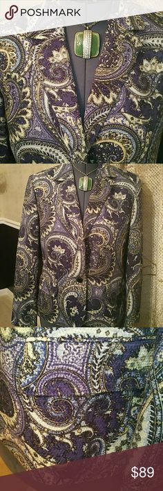Paisley Blue Print Kasper Blazer - 14 Size 14....Two Front Pockets  100% Acrylic   Lining: 100% Polyester  Most items are in New Condition and others in Newly-Used Condition.  Washed items have been washed but Dry Clean Only needs Dry Cleaning. The clothing have been fully Inspected and ready for shipment.  If I missed any flaws excuse my oversight.  All Clothing are priced Low to move quickly! Kasper Jackets & Coats Blazers
