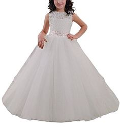 Carat Elegant Long Flower Girl Dress Lace Beading Tulle Ball Gowns First Communion