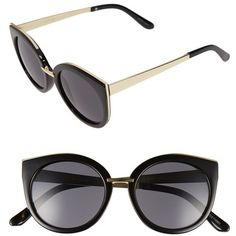 Junior BP. 'Addison' 50mm Cat Eye Sunglasses ($12) ❤ liked on Polyvore featuring accessories, eyewear, sunglasses, retro cat eye glasses, plastic sunglasses, retro sunglasses, plastic glasses and cat-eye glasses
