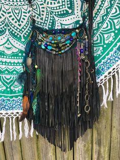Handmade Black Suede Leather Fringe Bag Hippie Western Boho OOAK WOW Purse B.Joy | eBay