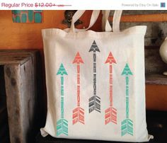 Arrow Block Printed Tote Bag in Mint, Coral, and Charcoal Gray 10.80