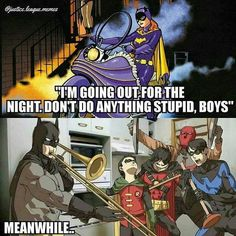 More like Alfred went out for a night Jason Todd, Dc Universe, Batman Universe, Tim Drake, Nightwing And Batgirl, Batfamily Funny, Batman Stuff, Batman Y Superman, Marvel Gifts