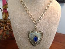 Gold vintage necklace with Fabulous blue jewel toned stone!! Love!! So cool!!  $60