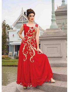 Red Partywear Net Women Gown Price INR 4013