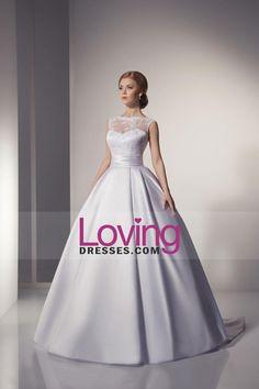 2015 Miraculous Wedding Dress High Neck Lace Bodice Ruffled Waistband With Long Satin Skirt