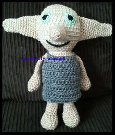 dobby from harry potter crochet toy please check me out on etsy or fb www.facebook.com/creativelycrochet1