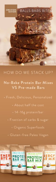 Quick & Easy No-Bake Protein Bar Mixes for making delicious homemade protein balls & energy bites! ProteinBarMix.com  No Bake, Paleo, Vegan, Gluten Free, Grain Free, Organic Superfoods, High Protein, Low Carb. Get your balls in the mix!