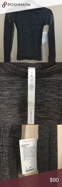 Lululemon Swiftly Wool Pullover NWT- black and white, size 2, logo on bottom left of shirt lululemon athletica Tops Tees - Long Sleeve